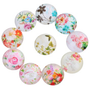 Yunso 10pcs Flower Flat Back Glass Cabochons Domes Mixed Cameo Patch Fit Cabochons for Pendant Trays Jewellery Making 20mm