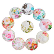 Yunso 10pcs Flower Flat Back Glass Cabochons Domes Mixed Cameo Patch Fit Cabochons for Pendant Trays Jewellery Making 12mm