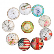 Yunso 10pcs Retro Clock Flat Back Glass Cabochons Domes Mixed Cameo Patch Fit Cabochons for Pendant Trays Jewellery Making 12mm