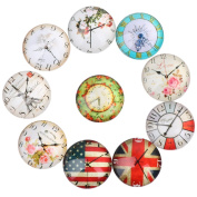 Yunso 10pcs Retro Clock Flat Back Glass Cabochons Domes Mixed Cameo Patch Fit Cabochons for Pendant Trays Jewellery Making 20mm