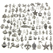 Eshylala 100 Pcs Tibetan Silver Plated Mixed Ocean Charm Pendants DIY for Jewellery Making and Crafting