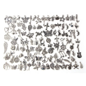 Eshylala 100 Pcs Tibetan Silver Plated Mixed Charms Pendants DIY for Jewellery Making and Crafting