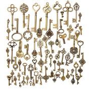 Eshylala 70 Pcs/Set Antique Bronze Mixed Skeleton Key Charm Pendants Set Fancy Heart Bow Charm Pendants Handmade Accessories for DIY Jewellery Making and Crafting