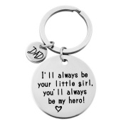 Gluckliy Dad I'll always be your little girl, you'll always be my hero Keyring Keychain Gift for Men