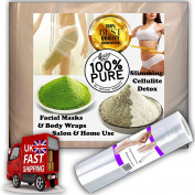 Bentonite Clay 100% Pure Sodium Bentonite / seaweed mix body wrap inch loss slimming 500 grammes saran spa slim film