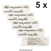 5 x Do not dream your life, Live your Dreams - Black Temporary Body Tattoo Lettering