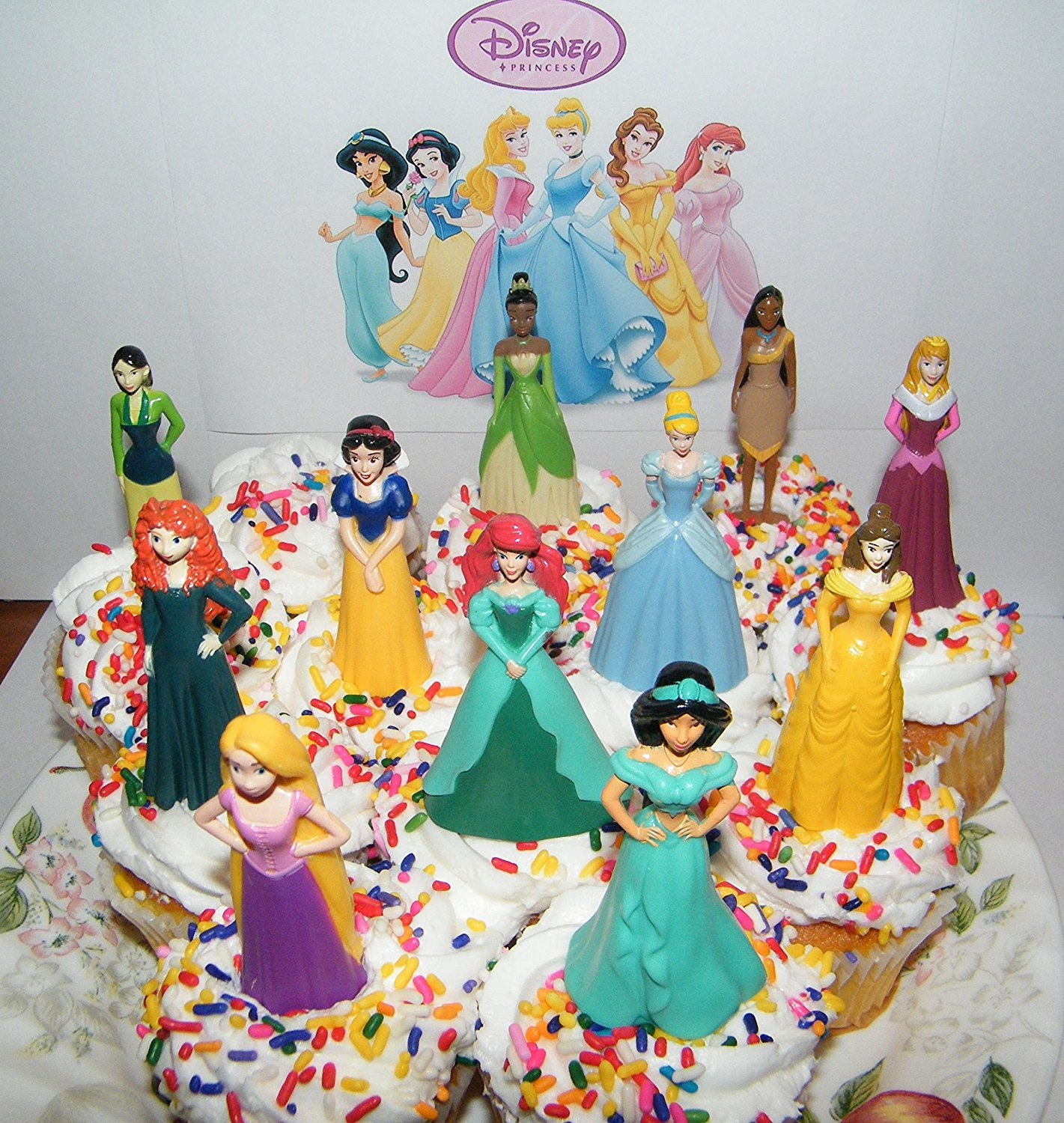 Disney Princess Deluxe Cake Toppers Cupcake Decorations Set Of 13