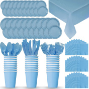 Disposable Paper Dinnerware for 24 - Light Blue - 2 Size plates, Cups, Napkins , Cutlery (Spoons, Forks, Knives), and tablecovers - Full Party Supply Pack