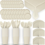 Disposable Paper Dinnerware for 24 - Ivory / Cream - 2 Size plates, Cups, Napkins , Cutlery (Spoons, Forks, Knives), and tablecovers - Full Party Supply Pack