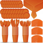 Disposable Paper Dinnerware for 24 - Pumpkin Orange - 2 Size plates, Cups, Napkins , Cutlery (Spoons, Forks, Knives), and tablecovers - Full Party Supply Pack