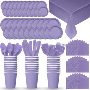 Disposable Paper Dinnerware for 24 - Lavender - 2 Size plates, Cups, Napkins , Cutlery (Spoons, Forks, Knives), and tablecovers - Full Party Supply Pack