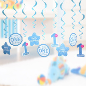 1st Birthday Party Swirl Hanging Decorations kit,Colourful Foil Ceiling Decor Pack for Baby Celerbration