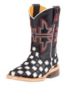 Tin Haul 0007 Black White Leather Patchwork Vamp Heel Checkmate 2