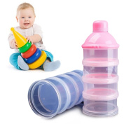 Formula Milk Powder Dispenser, 4 Cells Non-Spill Snack Storage Box Travel Bottle Container for Baby Kids