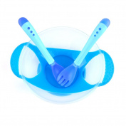 Baby Suction Bowl, Toddler Feeding Bow with Temperature Sensing Spoon & Fork Weaning No Spill Bowl Set