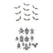 Homyl 22pcs Beautiful Jewellery Accessory Findings Vintage Skull Shapes Angel Wing Beads Charms Pendants