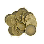 Baoblaze 20pcs Blank Round Pendants Base Tray For Necklace Jewlery Making Finding