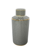 Modish Ceramic Covered Jar With Lid, Black And White