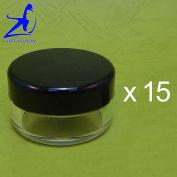 15 Pcs Made In Taiwan 10g Black Lid Sifter Loose Powder Jar w Pull Tab Seal Sticker