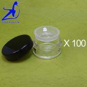 100 Pcs Made In Taiwan 10g Black Lid Sifter Loose Powder Jar w Pull Tab Seal Sticker