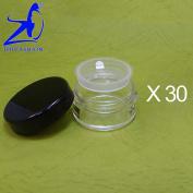 30 Pcs Made In Taiwan 10g Black Lid Sifter Loose Powder Jar w Pull Tab Seal Sticker