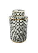 Trendy Ceramic Covered Jar With Lid, Black And White
