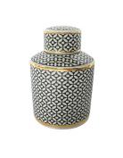 Stylish Ceramic Covered Jar, Black And White
