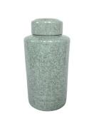 Charming Ceramic Covered Jar, Blue Crackle