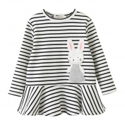 ExterenToddler Kids Baby Girl Embroidery Rabbit Striped Princess Dress Outfits Clothes
