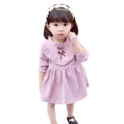 Exteren Cute Toddler Baby Girl Bowknot Solid Fold Long Sleeve Princess Dress