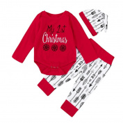 Exteren Christmas Toddler Kids Baby Girl Boy Arrow Print Rompers+Pants+Cap Outfit Clothes Set