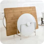 Genuiskids Stainless Steel Pot Rack Kitchen Chopping Board Storage Tableware Shelf