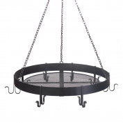 Hanging Pots And Pans Rack, Cast Iron Pot Rack Black Antique Circular Pot Holder