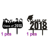 OULII 2 x Graduate Cake Toppers Acrylic Class of 2018 Cake Toppers for Graduation Parties