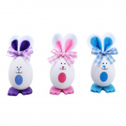 OULII 3PCS Foam Cute Rabbit Bowtie Easter Eggs Tabletop Decoration Ornaments Kids Gifts Embellishment Crafts For Easter Home Party Decor Supplies