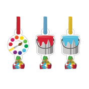 Club Pack of 48 Art Party Blowout Party Noisemakers with Paper Medallions