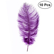 OULII 10pcs 20-25cm Faux Ostrich Feathers Plume DIY Crafts for Home Party Decoration Performance Costume Accesory Wedding Centrepieces