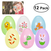 OULII Easter Eggs Easter Games and Crafts Easter Egg Surprise Hunt Party Favours 12pcs