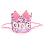 MAISHO Baby Girls First Birthday Party Hairband Hat Birthday Crown Tiara Headbands, - Pink