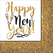 Gold Glitter New Year Luncheon Napkins, 36 Count