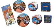 Hot Wheels Party Bundle 23cm Plates (16) 18cm Plates (16) Lunch Napkins (16) Beverage Napkins (16) Cups (16) Table Cover