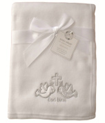 Baby White Silver God Bless Doves and Cross Wrap Blanket 100cm x 75cm approx