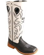 Twisted X Boys' And White Buckaroo Cowboy Boot Square Toe - Ybk0009