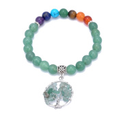 Natural Aventurine Stone & 7 Chakra Stone Bead Stretch Bracelet Bangle with Gravel Tree of Life Charm