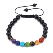Black Onyx & 7 Chakra Stone Healing Balance Bead Bracelet Bangle Braided Rope Adjustable