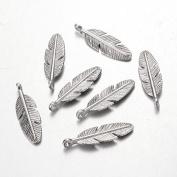 15 x Feather Tibetan Style Charm Pendant Silver 30mm