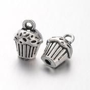8 x CUPCAKES CUP CAKE 3D Tibetan Silver Charms Pendants Beads