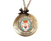Necklace locket,Lion Head Necklace Locket,Animal Necklace locket,Handmade Necklace,Bowknot Bronze Necklace,Vintage Jewellery,Fashion Necklace for Women