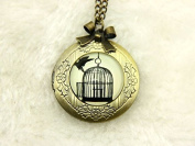 Necklace locket,Bird & Cage Necklace locket,Bird & Cage Necklace,Handmade Necklace,Bowknot Bronze Necklace,Vintage Jewellery,Fashion Necklaces for Women