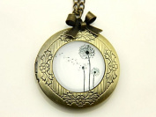 Necklace locket,Flower Necklace locket,Dandelions Necklace,Handmade Necklace,Bowknot Bronze Necklace,Vintage Jewellery,Sweater Necklace,Fashion Necklace for Women